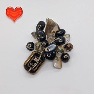 Glass Beaded Abalone Shell Floral Bouquet Pin